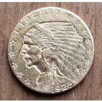 2 1/2 доллара США, золото,1925