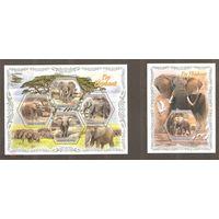 2018 Кот-д Ивуар Фауна Африки, слоны  1KB+1BL MNH