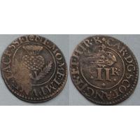 Шотландский торнер (двойной пенни) 1632-1633 г. первая медная монета на Беларуси-4