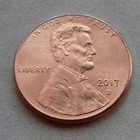 1 цент США 2017 D, AU
