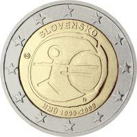 2 евро Словакия 2009 10 лет Экономическому и Валютному союзу UNC из ролла