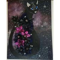 Панно мистика кошка мозайка ручная