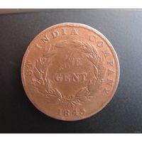 Восточно-Индийская компания 1 цент 1845