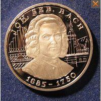 АНДОРРА 10 динер динар 1997 Бах СЕРЕБРО ПРУФ АЦ UNC