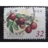 Китай Тайвань 2002 фрукты высокий номинал, концевая марка в серии Mi-3,2 евро гаш.