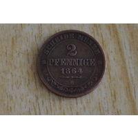 Саксония 2 пфеннига 1864В
