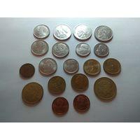 Греция набор монет из 19 шт. (все разные)