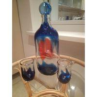 Сервиз кувшин графин и стаканы Чехословакия цветное стекло гутная техника