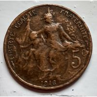 Франция 5 сантимов, 1916 * - Мадрид 2-6-17
