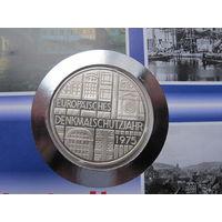 Германия, 5 марок, 1975,  монета-письмо, серебро