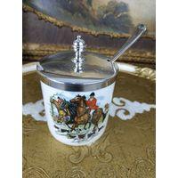 Фарфоровая сахарница баночка для джема со сценами Английской охоты