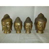 4 Старенькие головы Будды. Латунь, одним лотом.