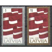 Латвия 1993 75-летие Независимости Флаги**