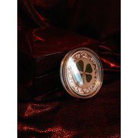 "RARE Палау 5 долларов 2020г. ""Унция Удачи. Клевер в розовом золоте!"". Монета в капсуле; шикарном деревянном подарочном футляре; сертификат; коробка. СЕРЕБРО 31,10гр.(1 oz)."