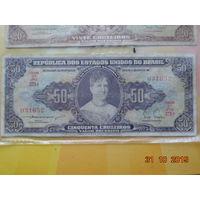 "Бразилия 50 крузейро 1953г. без надпечатки  ""не частая"""