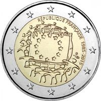 2 евро 2015 Франция 30 лет флагу UNC из ролла