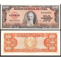КУБА  100  ПЕСО  1959 год  AU