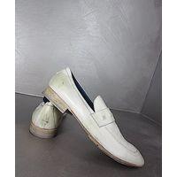 РАСПРОДАЖА!!! СКИДКА 15 %!!! Эксклюзивные кожаные мокасины ручной работы известного итальянского бренда МОМА, модель Mokassins MOMA Foulard 9116 Bianco Leder, 100 % оригинальные с сертификатом подлинн