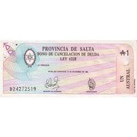 Аргентина провинция Сальта 1 аустраль образца 1987 года UNC s2612