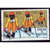 1 марка Верхняя Вольта 1980 год Лыжники