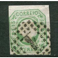 Португалия (Королевство) - 1855 - Король Педру V - 50R - [Mi.7A] - 1 марка. Гашеная.  (Лот 91S)