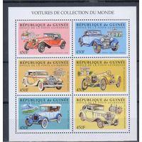 [1389] Гвинея 1998. Ретро автомобили. МАЛЫЙ ЛИСТ.