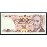 Польша. 100 злотых 1986 года. Серия SD. P143e. UNС