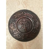 Чеканка, тарелка с рисунком Медь D 34.5 см Ручная работа