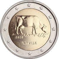 2 евро 2016 Латвия Сельское хозяйство Латвии UNC из ролла