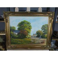 Картина Гуси Масло холст 44х34 см на оргалите Рама Дерево Багет 54х44 Лепнина Золото