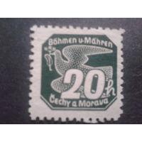 Рейх протекторат 1939 газетная марка с зубцами! Редкость!