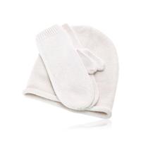Весенние шапка и варежки белые