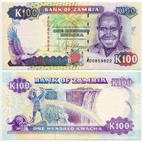 Замбия. 100 квача (образца 1991 года, P34, UNC)