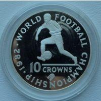 Теркс и Кайкос 10 крон 1982 года. Футбол. Серебро. Пруф! Идеальное состояние! (2)