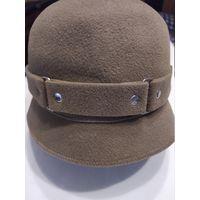 Фетровая Шапочка-шляпка оливкового цвета ,56 р-р,Россия ,100% кроличий пух,эксклюзивная отделка,новая