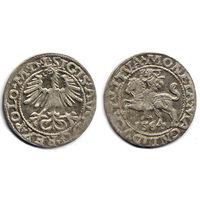 Полугрош 1564, Жигимонт Август, Вильно. Окончания легенд: Ав - L, Рв - LITVA