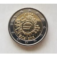 2 евро 2012 Бельгия 10 лет наличному евро