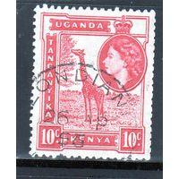 Британские колонии.Кения,Уганда,Танганьика.10с. Королева Елизавета II.Жираф.