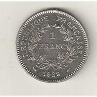 Франция 1 франк 1989 200 лет объединения штатов