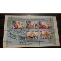 Корабли, парусники, флот, транспорт, известные личности, Колумб, открытие Америки, карты, марки, Вьетнам 1992 блок
