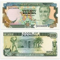 Замбия. 20 квача (образца 1989-91 года, P32b, UNC)