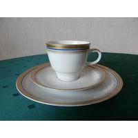 Сервиз чайный фарфоровый золочение 6 персон 17 предметов Mitterteich Bavaria Германия