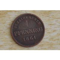 Германия,Бавария 1 пфенниг 1861