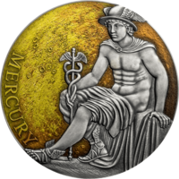 "Камерун 3000 франков 2019г. ""Меркурий"". Монета в капсуле; подарочном футляре; сертификат; коробка. СЕРЕБРО 93,30гр.(3 oz)."