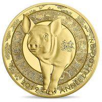 "Франция 50 евро 2019г. ""Год свиньи"". Монета в капсуле; подарочном футляре; сертификат; коробка. ЗОЛОТО  7,78гр."