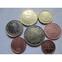 Набор евро монет Италия 2006 г. (1, 2, 5, 10, 50 евроцентов, 1, 2 евро)