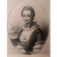 MME DU CHATELET   РЕДКАЯ . Старинная гравюра ПАРИЖ 1860 год. оригинал 27 х18 см.