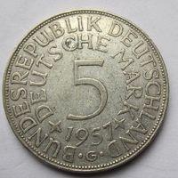 ФРГ. 5 марок 1957 G, Серебро