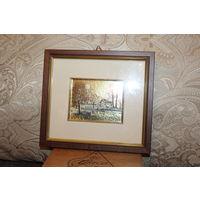 Картина в деревянной рамке - художественная литография, выполненная на золотой фольге.
