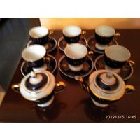 Чайный фарфоровый сервиз на шесть персон кобальт позолота СССР новый.